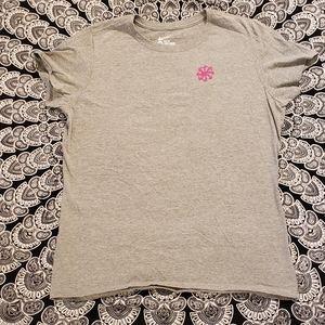 Nike Gray Pink Logo Swirl Fitted Tshirt